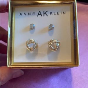Anne Klein box set of 2 post style earrings. Gold
